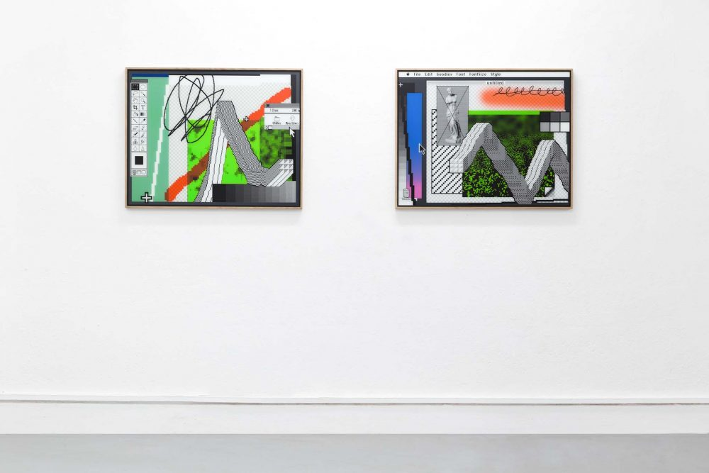 Arno Beck 2 paintings on white wall