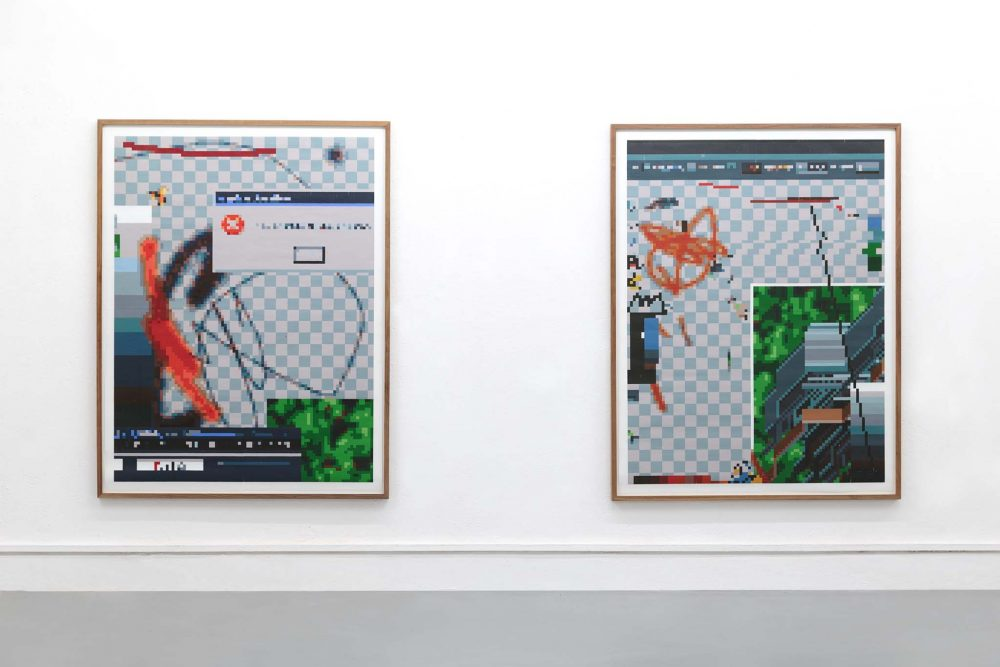 Arno Beck 4 drawings on white wall